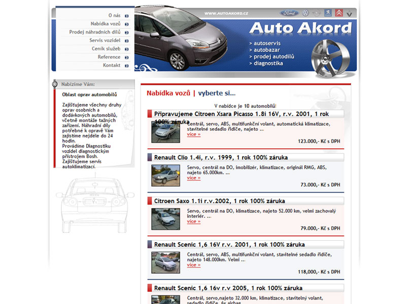Auto Akord Web Site screeenshot