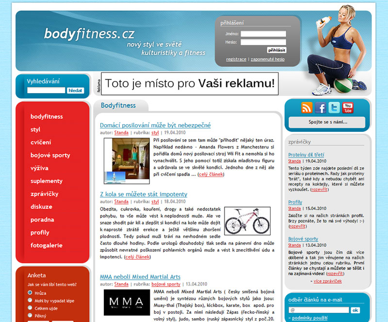 Bodyfitness.cz Magazine screeenshot