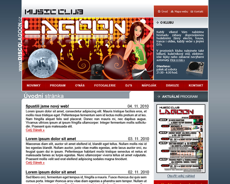Music club Lagoon web site screeenshot