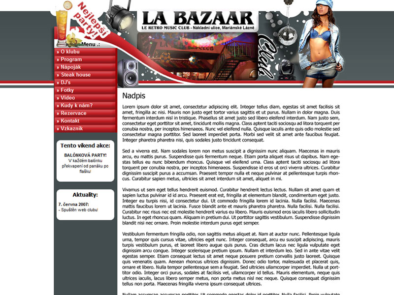 Web klubu LA BAZAAR screenshot